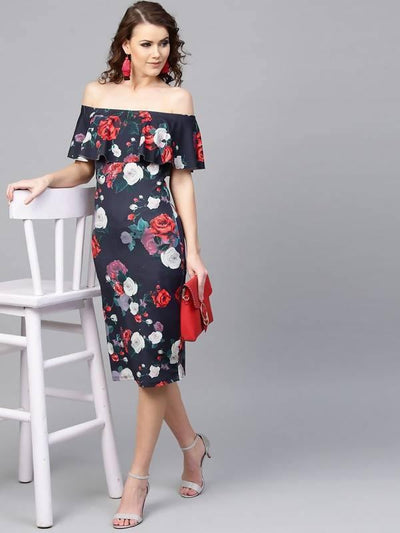 Women's Floral Scuba Dress - MANERAA