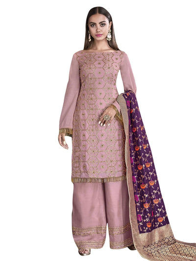 Stylee Lifestyle Pink Satin Embroidered Dress Material - MANERAA