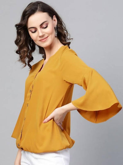 Women's Solid Shirt Balloon Top With Huge Bell Sleeves - MANERAA