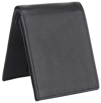 Men Black Pure Leather RFID Wallet 7 Card Slot 2 Note Compartment - MANERAA