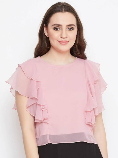 Bitterlime Women Solid Layered Crop Top - MANERAA