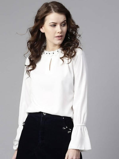 Women's Ruffled Pearl Embellished Collar Top - MANERAA