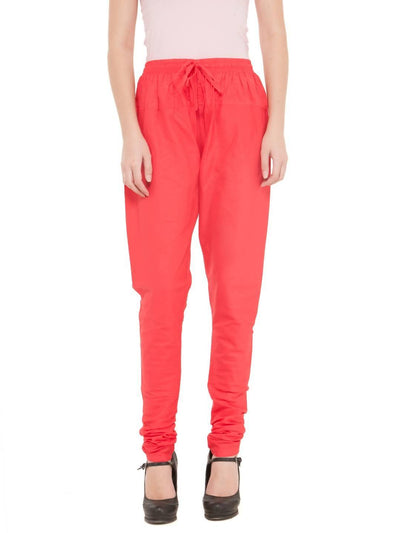 Women Cotton Coral Red Churidar - MANERAA