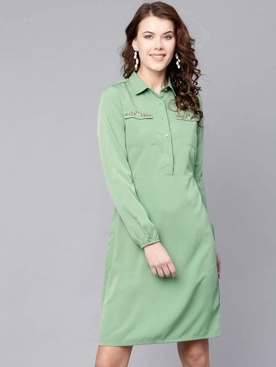 Women's Embroidered Shirt Dress - MANERAA
