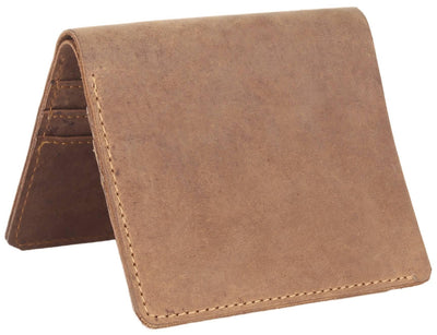 Men Brown Pure Leather RFID Wallet 6 Card Slot 1 Note Compartment - MANERAA