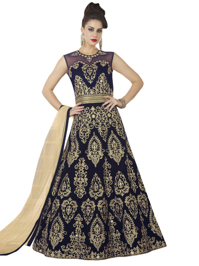 Stylee Lifestyle Navy Blue Velvet Embroidered Dress Material - MANERAA