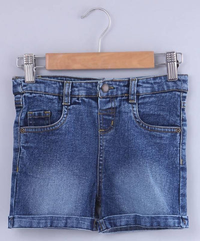 Beebay Mid Wash Turn-Up Denim Shorts - MANERAA