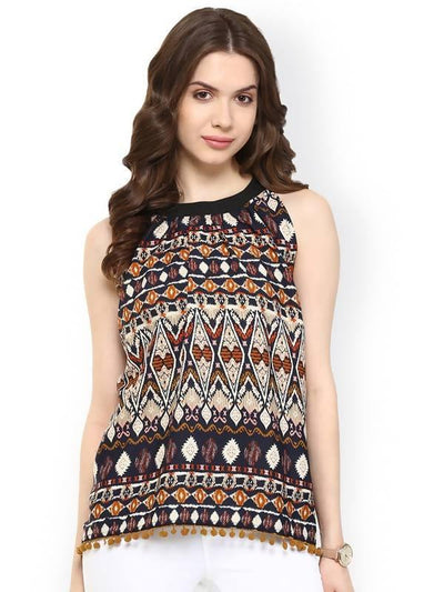 Women's Ikat Tassel Top - MANERAA