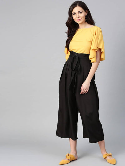 Bitterlime Women Mustard Flared Ruffle Top & Trouser Set - MANERAA
