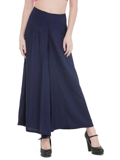 Women Solid Navy Blue Rayon Flared Palazzo - MANERAA