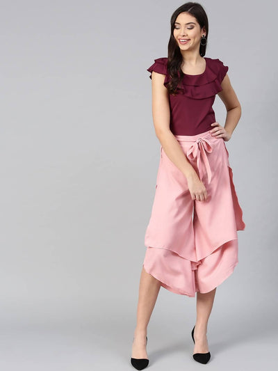 Bitterlime Women Burgundy Ruffle Sleeveless Top & Layered Trouser Set - MANERAA