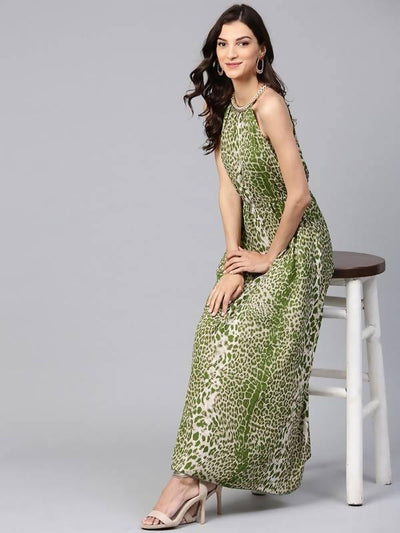 Women's Light Green Animal Print Pleated Maxi Dress With Embellished Neck - MANERAA
