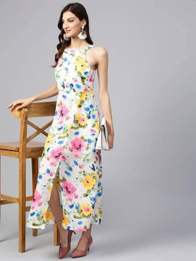 Women's White Floral Strappy Incut Maxi Dress - MANERAA