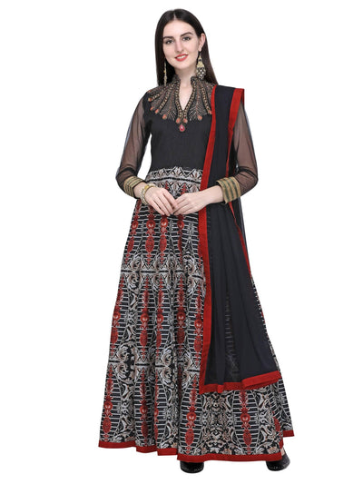 Stylee Lifestyle Black Art Silk Embroidered Dress Material - MANERAA