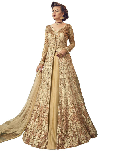 Stylee Lifestyle Beige Net Embroidered Dress Material - MANERAA
