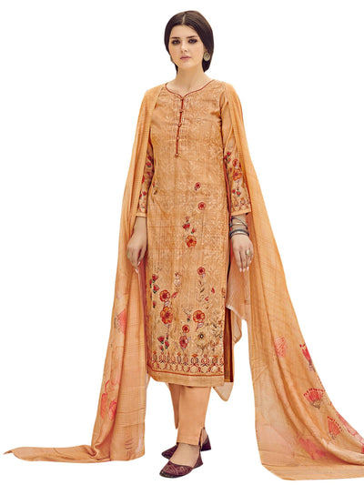 Stylee Lifestyle Orange Pure Silk Printed Dress Material - MANERAA