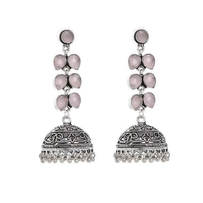 Alloy And Artificial Stones Jhumkas Artificial Fashion Jewellery For Women Pink Color - MANERAA
