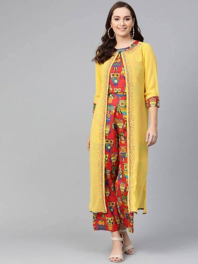 Women's Embroidered Jacket With Printed Top And Pants - MANERAA