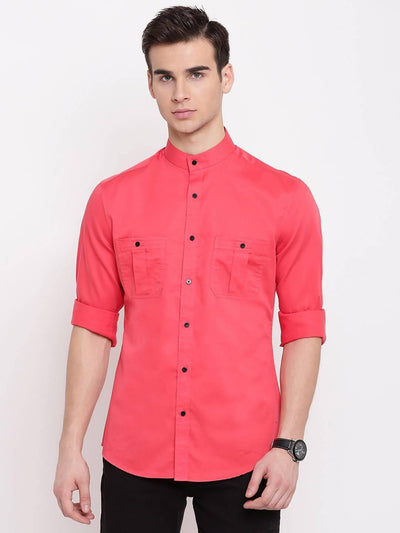 Men's Pink Solid Casual Shirt (Size:36) - MANERAA