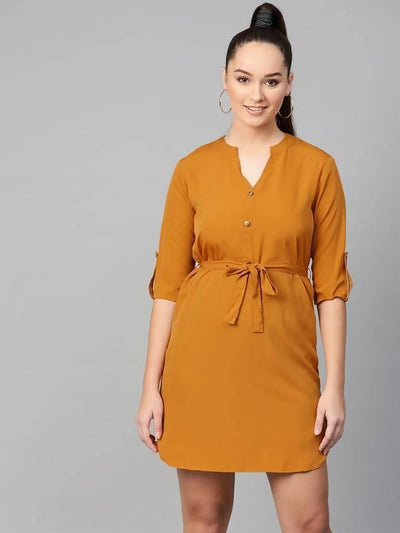 Women's Women's Mustard Shirt Dress - MANERAA