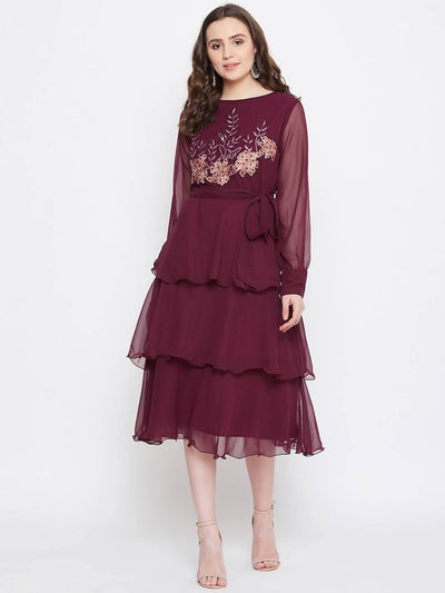 Bitterlime Women Burgundy Embroidered Fit and Flare Dress - MANERAA