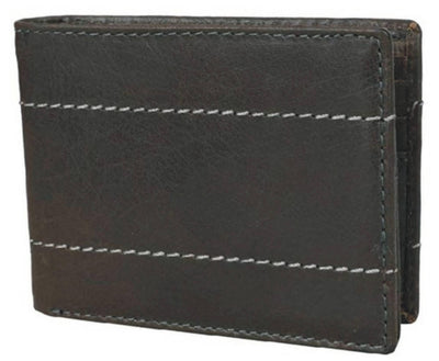 Men Green Original Leather RFID Wallet 10 Card Slot 2 Note Compartment - MANERAA