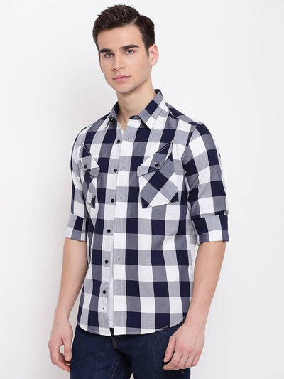 Check Republic White And Black Checkered Casual Cotton Shirt - MANERAA