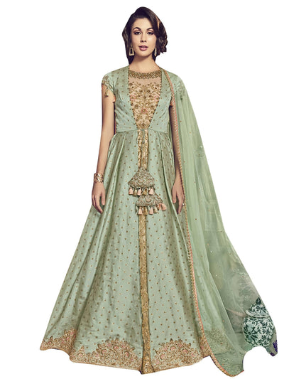 Stylee Lifestyle Green Raw Silk Embroidered Dress Material - MANERAA