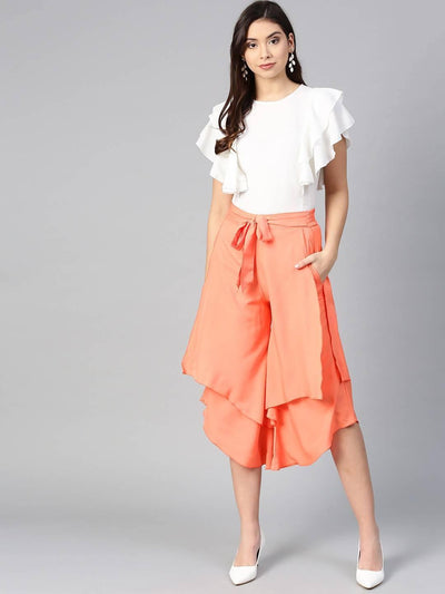 Bitterlime Women Off White Princess Ruffle Sleeveless Top & Layered Trouser Set - MANERAA