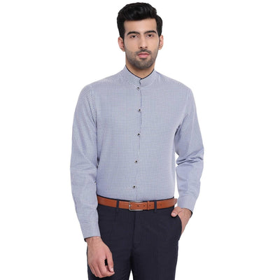 Men's Blue Dobby Textured Printed Cotton Shirt (Size:38) - MANERAA