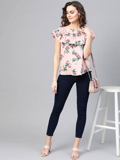 Women's Floral Top With Gathered Neck Flare - MANERAA