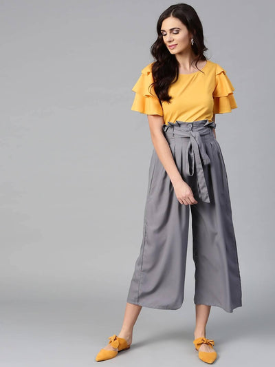 Bitterlime Women Mustard Layered Top & Trouser Set - MANERAA