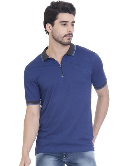 Blue Colour Polo Half Slevee T-shirts - MANERAA