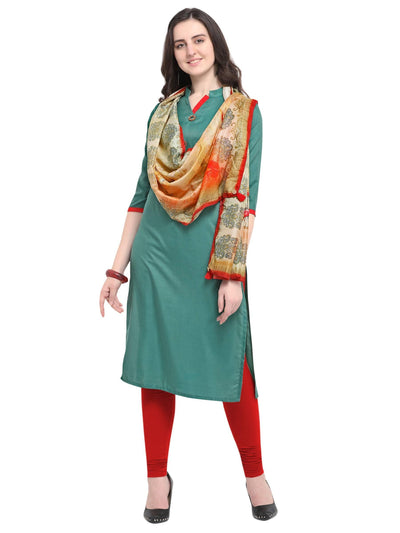Green Silk Blend Solid Kurti - MANERAA