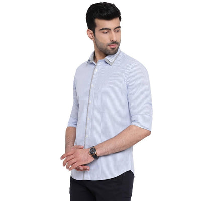 Dab Along Light Blue Striped Casual Cotton Shirt - MANERAA
