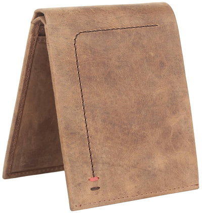 Men Brown Pure Leather RFID Wallet 7 Card Slot 2 Note Compartment - MANERAA