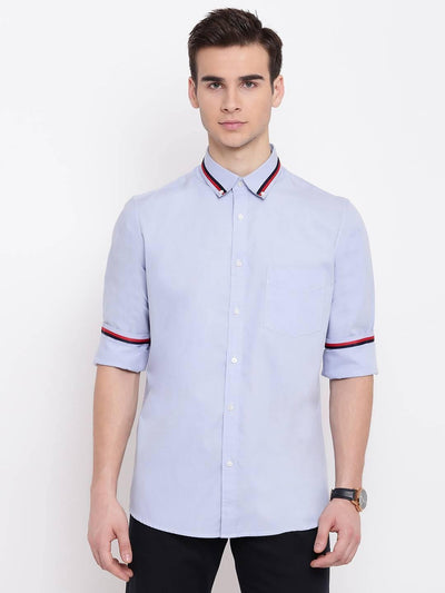 Man Up Light Blue Two Striped Casual Shirt (Size:38) - MANERAA