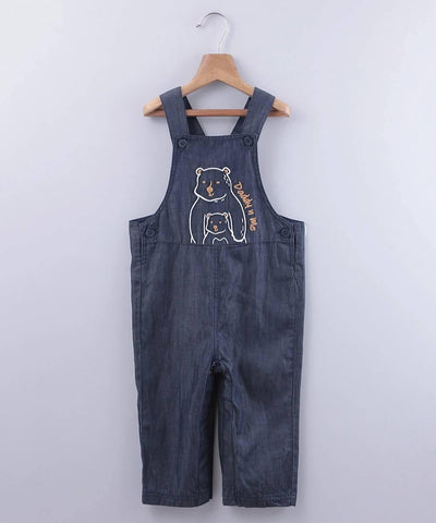 Bear Embroidered Denim Dungaree - MANERAA