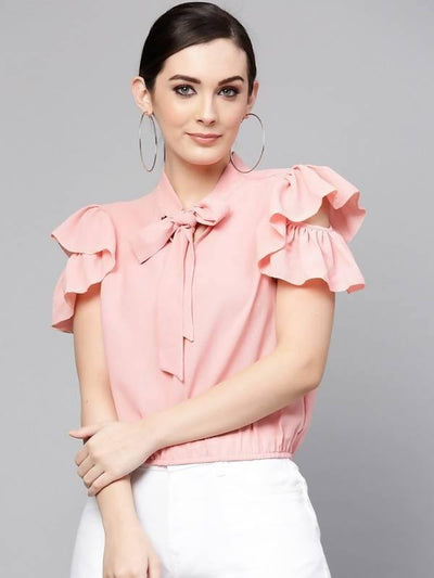Women's Solid Ruffle And Tie-Up Top - MANERAA