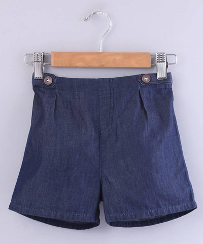 Tab Detail Denim Shorts - MANERAA