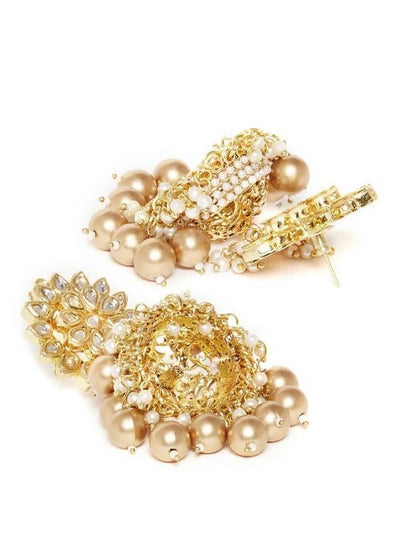 Kundan Jhumkas Artificial Fashion Jewellery For Women Gold Color - MANERAA