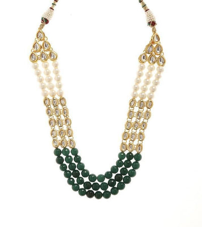 Kundan Necklace And Earring Set Artificial Fashion Jewellery For Women Green Color - MANERAA