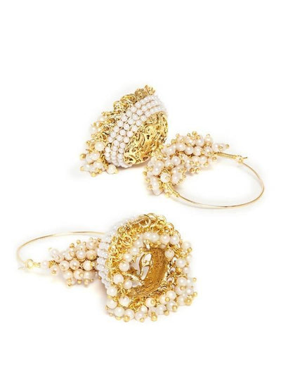 Kundan Hoop Earring Artificial Fashion Jewellery For Women Gold Color - MANERAA