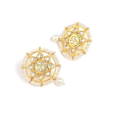 Kundan Studs Artificial Fashion Jewellery For Women Gold Color - MANERAA