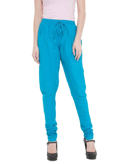 Women Cotton Turq Blue Churidar - MANERAA