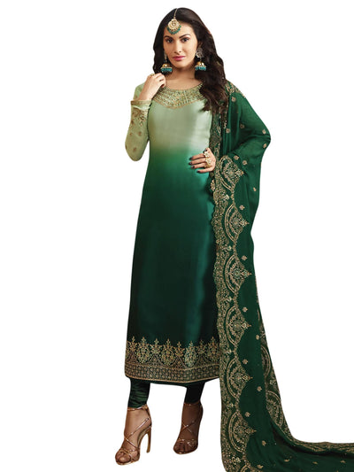 Stylee Lifestyle Green Satin Embroidered Dress Material - MANERAA