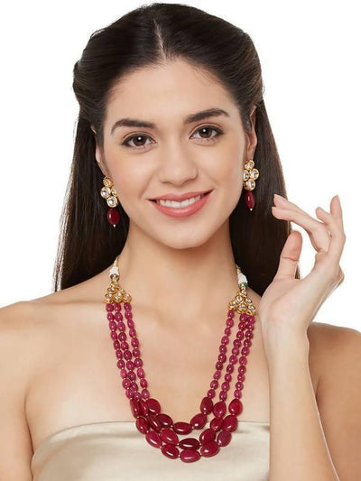 Kundan Necklace And Earring Set Artificial Fashion Jewellery For Women Red Color - MANERAA
