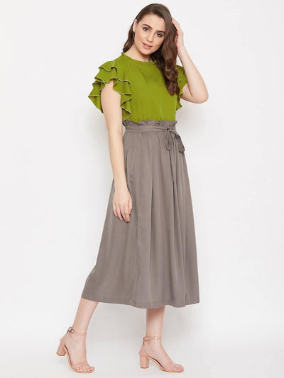 Women's Solid top with Deap Pleated Skirt Set - MANERAA