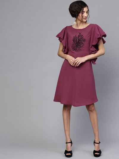 Women's Embroidered Frill And Flare Dress - MANERAA