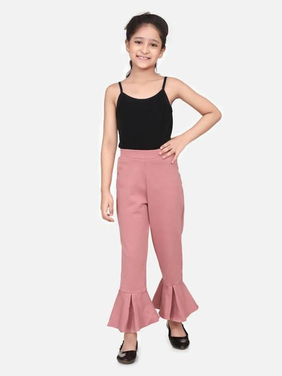 Pink full strachable bell bottom - MANERAA